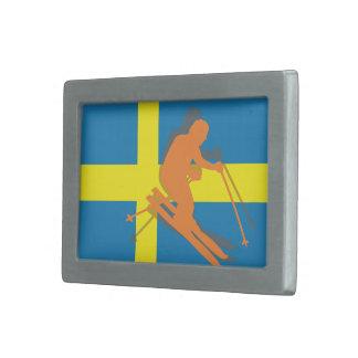 Swedish Flag Sweden Ski Skiing Belt Buckles