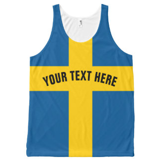 Swedish flag tank top for Sweden fans All-Over Print Tank Top
