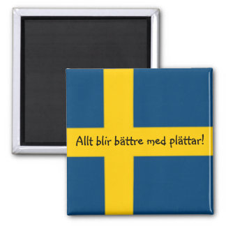 Swedish Flag Theme Fridge Magnet - plättar -