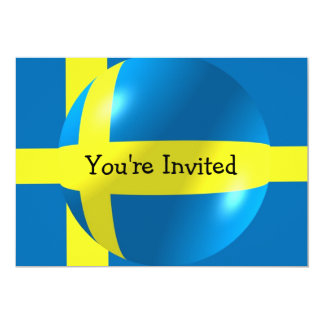 Swedish Flag With Bubble Invitation For Any Occasi