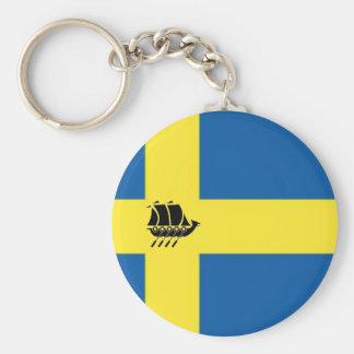 Swedish Flag With Viking Ship Scandinavian Basic Round Button Key Ring