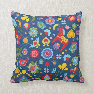 Swedish Folk Art Garden Scandi Cushion