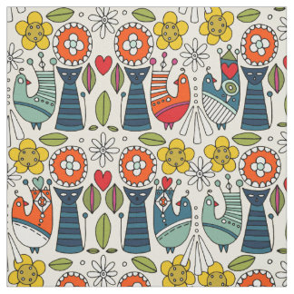 Swedish folksy cats and birds fabric