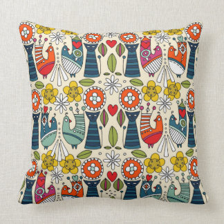 Swedish folksy cats and birds throw pillow