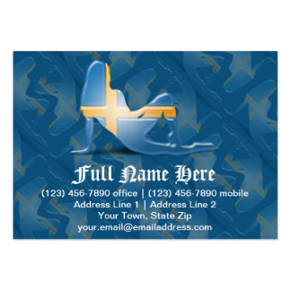 Swedish Girl Silhouette Flag Business Cards