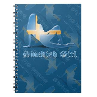 Swedish Girl Silhouette Flag Notebooks