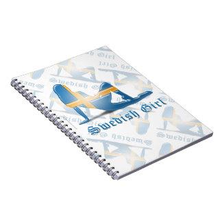 Swedish Girl Silhouette Flag Spiral Notebook