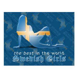 Swedish Girl Silhouette Flag Postcard