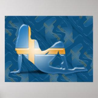 Swedish Girl Silhouette Flag Poster