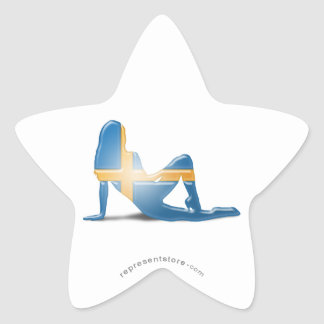 Swedish Girl Silhouette Flag Star Stickers
