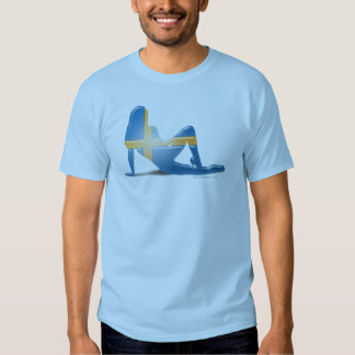 Swedish Girl Silhouette Flag T Shirt