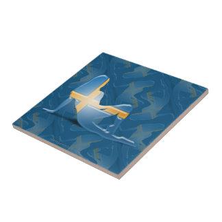 Swedish Girl Silhouette Flag Ceramic Tiles