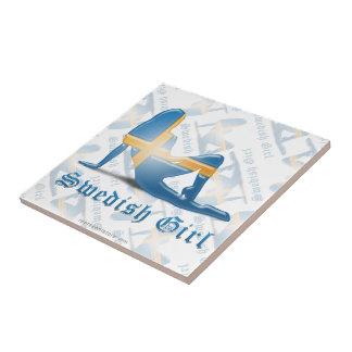 Swedish Girl Silhouette Flag Tile