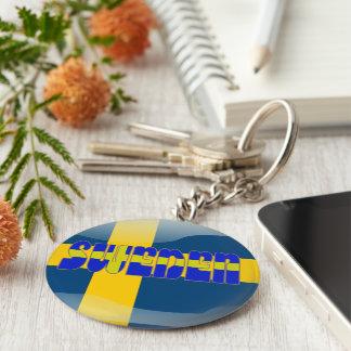 Swedish glossy flag basic round button key ring