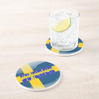 Swedish glossy flag coaster