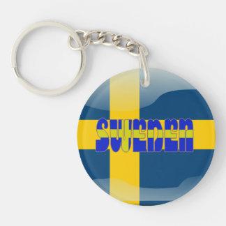 Swedish glossy flag key ring