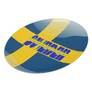 Swedish glossy flag plate