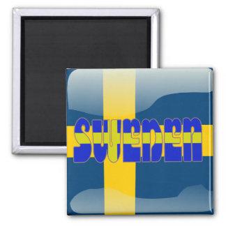 Swedish glossy flag square magnet