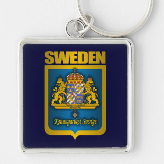 """""""Swedish Gold"""" Silver-Colored Square Key Ring"""