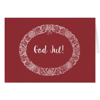 Swedish Greeting Christmas Wreath White onDeep Red Card