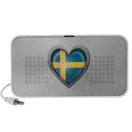 Swedish Heart Flag Stainless Steel Effect iPhone Speaker