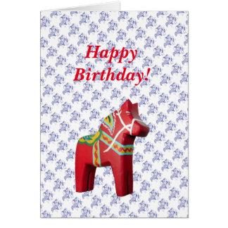 Swedish Horse Birthday Card