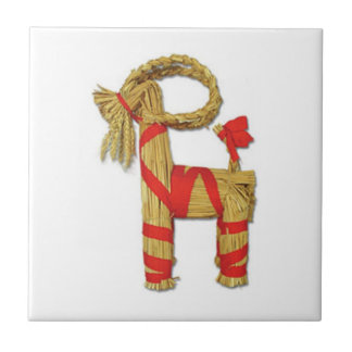 Swedish Julbock Christmas Straw Goat Small Square Tile