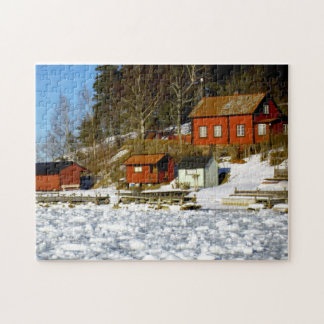 Swedish landscape in winter with snow - frozen sea jigsaw puzzle