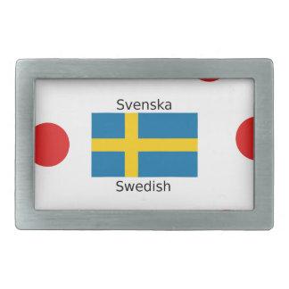 Swedish Language (Svenska) And Sweden Flag Design Belt Buckle