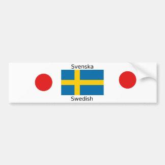 Swedish Language (Svenska) And Sweden Flag Design Bumper Sticker