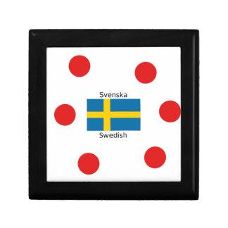 Swedish Language (Svenska) And Sweden Flag Design Gift Box
