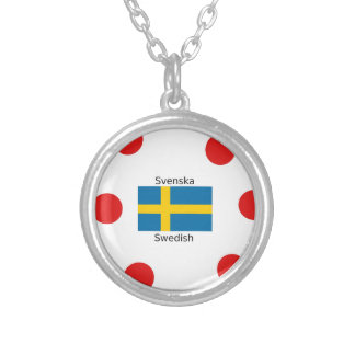 Swedish Language (Svenska) And Sweden Flag Design Silver Plated Necklace