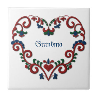 Swedish Norwegian Personalized Custom Heart Small Square Tile