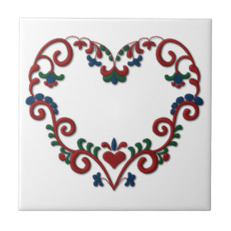 Swedish Norwegian Rosemaling Heart Scandinavian Small Square Tile
