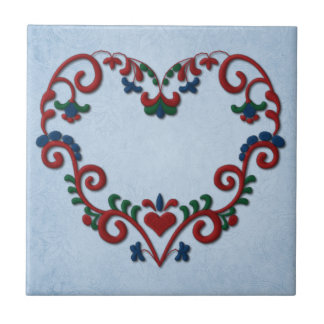 Swedish Norwegian Rosemaling Heart Small Square Tile