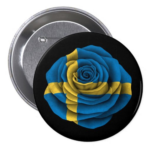 Swedish Rose Flag on Black Pinback Buttons
