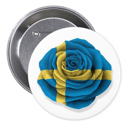 Swedish Rose Flag on White Buttons