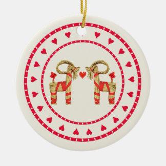 Swedish Straw Goat Julbok Heart Circle Ceramic Ornament