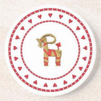 Swedish Straw Goat with Hearts Coaster