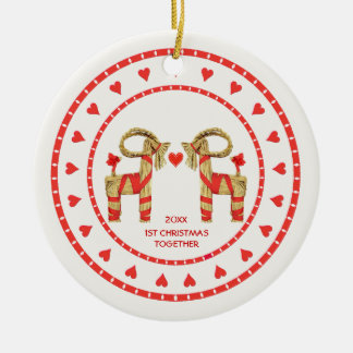 Swedish Straw Goats 1st Christmas Together Dated Round Ceramic Decoration