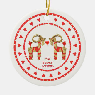 Swedish Straw Goats 5 Years Together Dated Ceramic Ornament