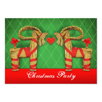 Swedish Straw Goats Christmas Holiday Party Custom Card
