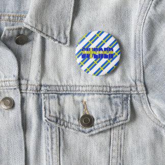 Swedish stripes flag 6 cm round badge