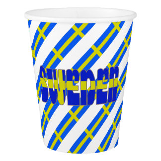 Swedish stripes flag paper cup