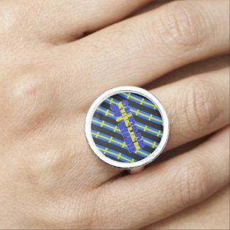 Swedish stripes flag ring