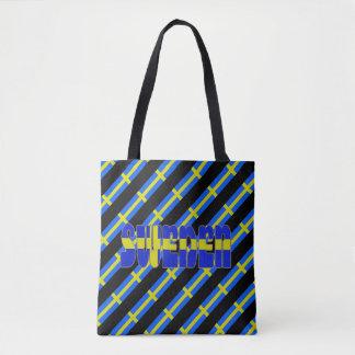 Swedish stripes flag tote bag
