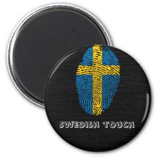 Swedish touch fingerprint flag 6 cm round magnet