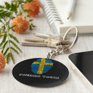 Swedish touch fingerprint flag basic round button key ring