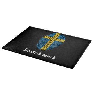 Swedish touch fingerprint flag cutting board