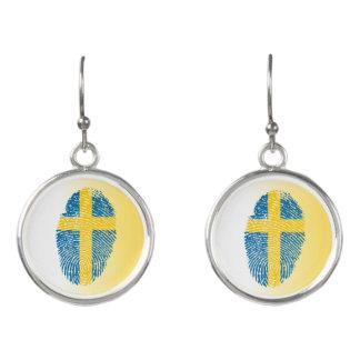 Swedish touch fingerprint flag earrings